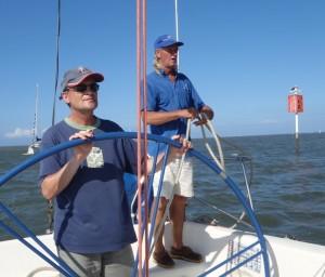 Skipper Stephen Crockett with student