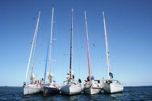 Raft-up at Horseshoe Bay on Moreton Bay Southern Cross Yachting